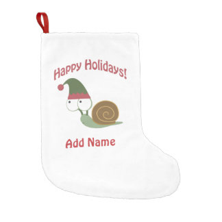 Customizable Happy Holidays! Snail elf Small Christmas Stocking