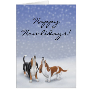 Customizable Happy Howlidays Basset Hound Dogs Car Card