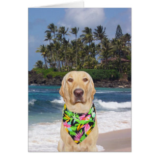Customizable Hawaiian Yellow Lab Birthday Card