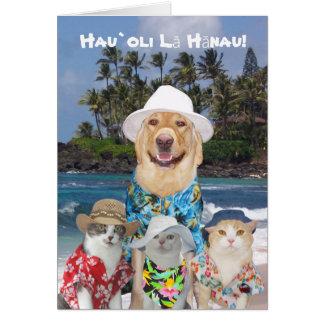 Customizable Hawaiian Yellow Lab & Kitties Birthda Card