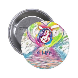 Customizable Heart And 4 Life Digital Drawing 2 Inch Round Button