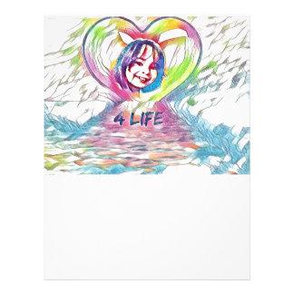 Customizable Heart And 4 Life Digital Drawing Letterhead