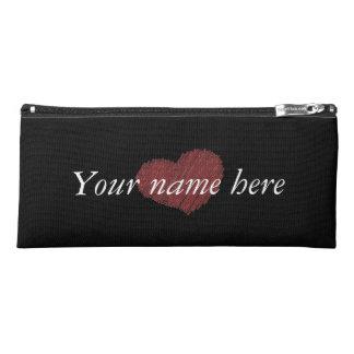 Customizable heart pencil pouch pencil case