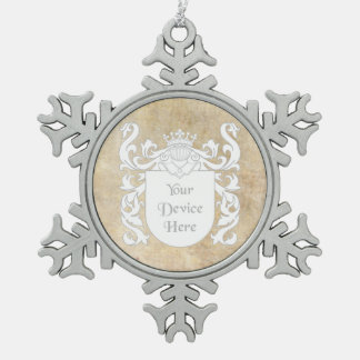 Customizable Heraldic Shield Snowflake Pewter Christmas Ornament