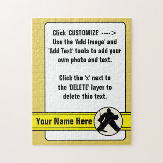 Customizable Hockey Goalie Card Jigsaw Jigsaw Puzzle