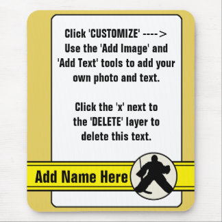 Customizable Hockey Goalie Card Mousemat Mouse Pad