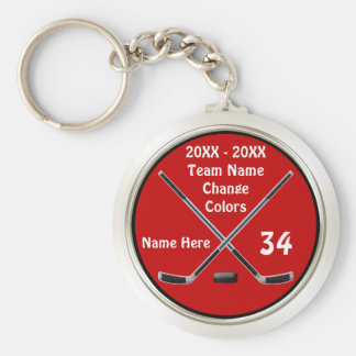 Customizable Hockey Keychains in Your Colors, Text