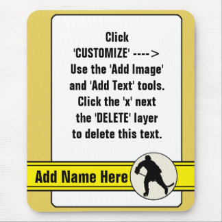 Customizable Hockey Trading Card Template Mousemat Mouse Pad