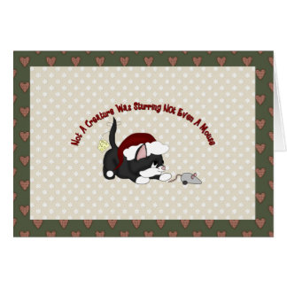 Customizable Holiday Card Black Santa Kitten