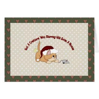 Customizable Holiday Card Brown Santa Kitten