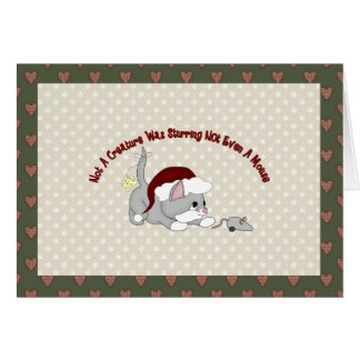 Customizable Holiday Card Gray Santa Kitten