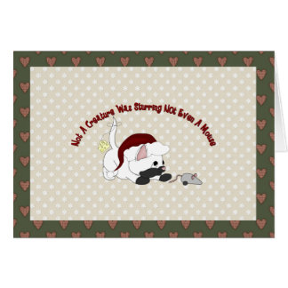 Customizable Holiday Card White Santa Kitten