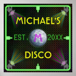 Customizable Home Bar 1970's Disco Ball Posters
