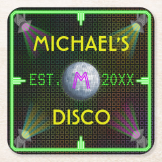 Customizable Home Bar 1970's Disco Ball Square Paper Coaster