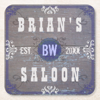 Customizable Home Bar Beer Saloon Square Paper Coaster