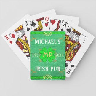 Customizable Home Bar: Green Irish Pub Playing Cards