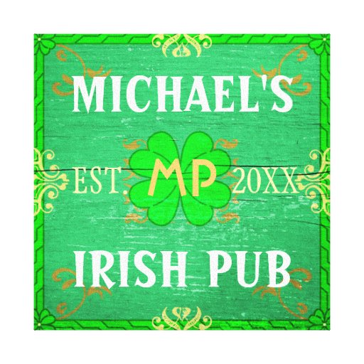 Customizable Home Bar Irish Pub Green Canvas Prints