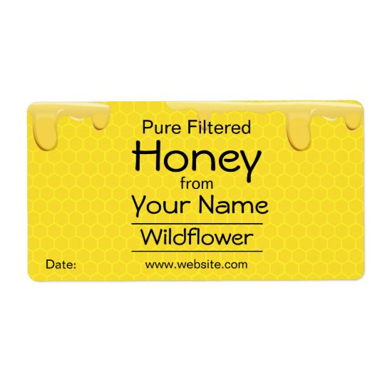 Customizable Honey Labels Honeycomb Add Your Name