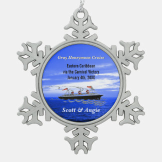 Customizable Honeymoon Cruise Ship Snowflake Pewter Christmas Ornament