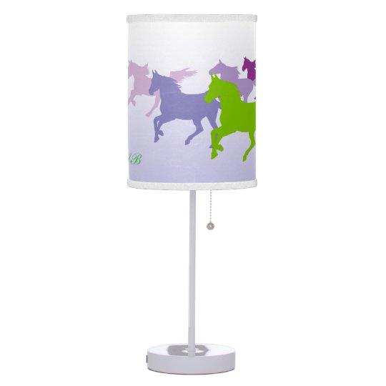 Customizable: Horses run free purple Table Lamp