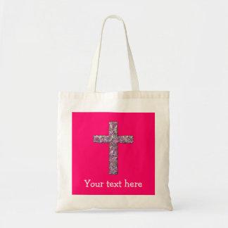 Customizable Hot Pink Cross Tote Bag