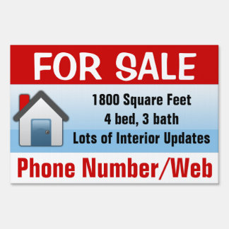 Customizable House For Sale Sign, Modern Blue