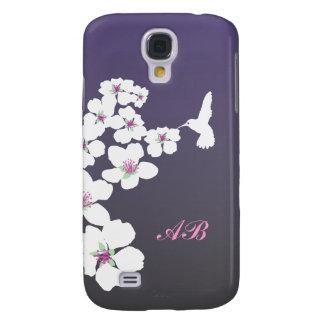 Customizable: Hummingbird and blossom on purple