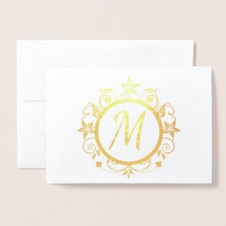 Customizable Initial Personal Stationery Foil Card