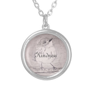 Customizable intention with bird silver plated necklace