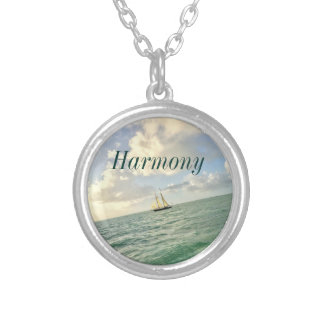 Customizable Intention with Sailboat Silver Plated Necklace