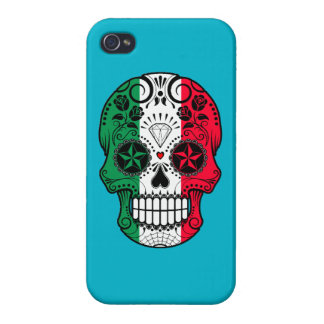 Customizable Italian Flag Sugar Skull with Roses Case For iPhone 4
