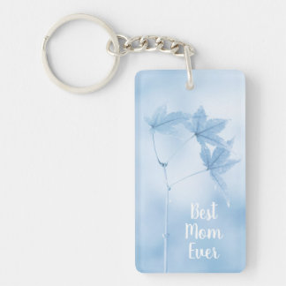 Customizable Japanese Maple Leaves in Blue Keychain