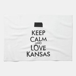 Customizable KEEP CALM and LOVE KANSAS Hand Towels