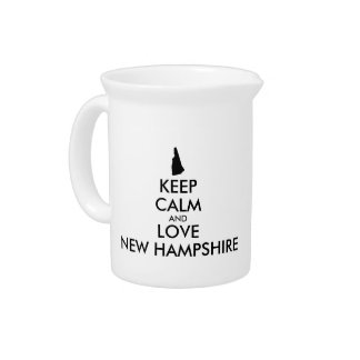 Customizable KEEP CALM and LOVE NEW HAMPSHIRE Pitcher