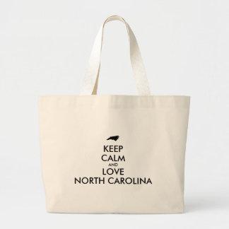 Customizable KEEP CALM and LOVE NORTH CAROLINA Large Tote Bag