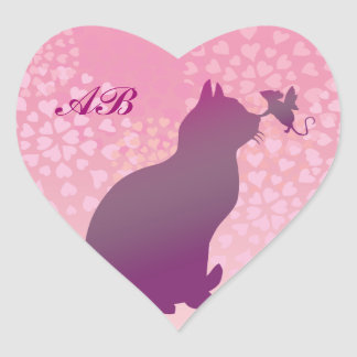 Customizable: Kitty and fairy mouse Heart Sticker