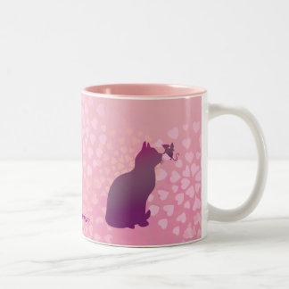Customizable: Kitty and fairy mouse Two-Tone Mug