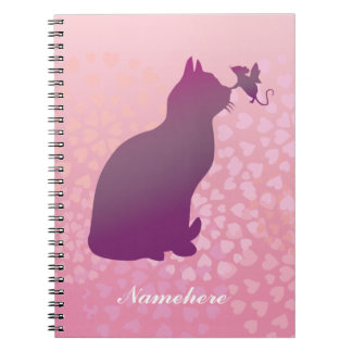 Customizable: Kitty & fairy mouse Spiral Note Books