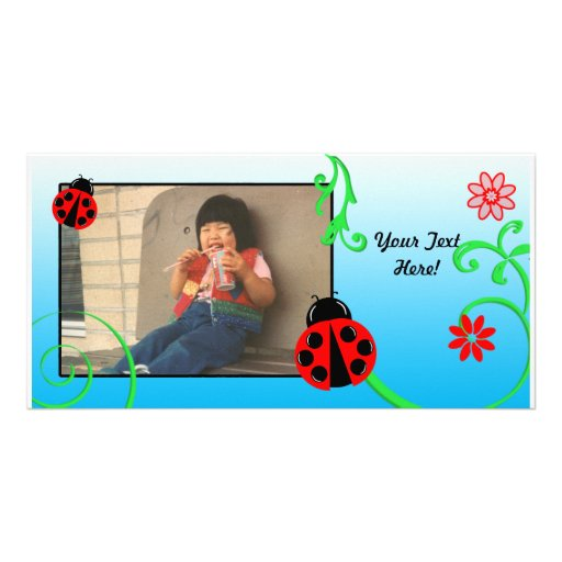 Customizable Ladybug Card in Blue Picture Card