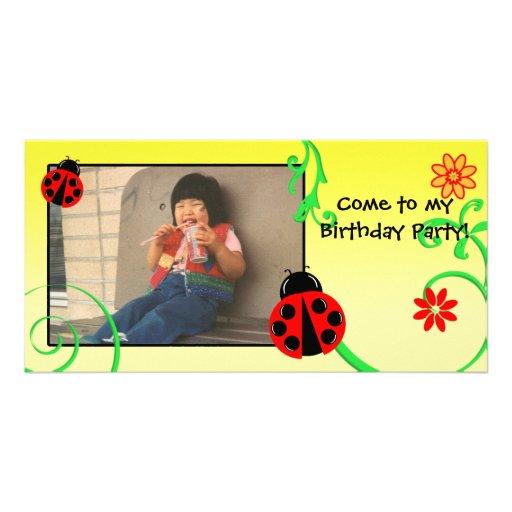 Customizable Ladybug card in Yellow Photo Card Template