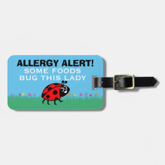 Customizable Ladybug Food Allergy Medical Alert Luggage Tag