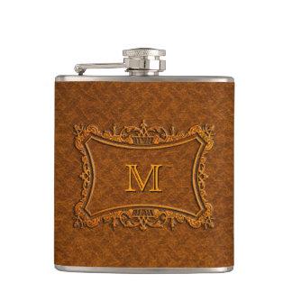 Customizable Leather Monogram Hip Flask