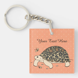 Customizable Leopard Tortoise Keychain (2 sided)