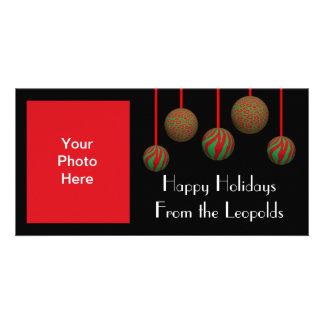 Customizable Leopard & Zebra Xmas Ornaments Picture Card