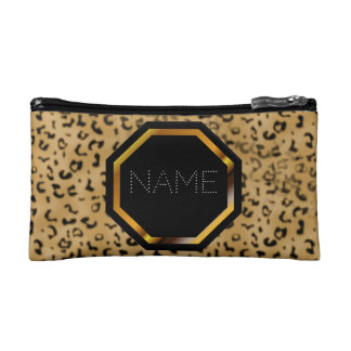 Customizable Lepoard Print Cosmetics Bag