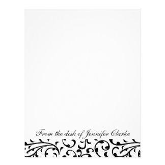 Customizable Letterhead Black and White Damask