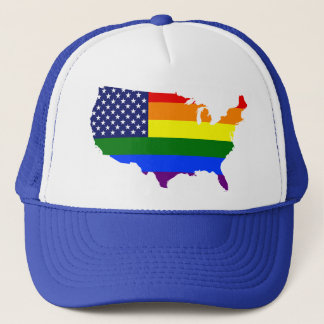 Customizable LGBT Pride America trucker hat. Trucker Hat