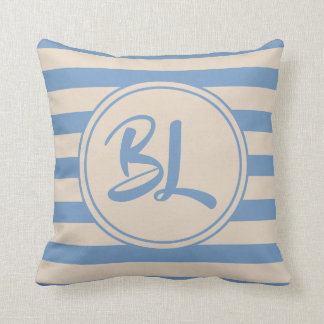 Customizable Light Blue and Beige Stripes Throw Pillow