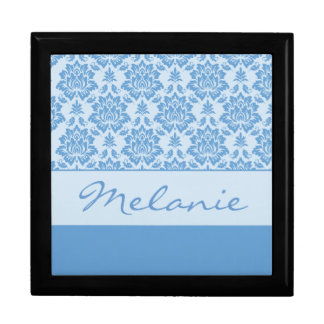 Customizable Light Blue Damask Trinket Box