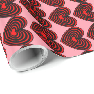 Customizable Lined Hearts Wrapping Paper